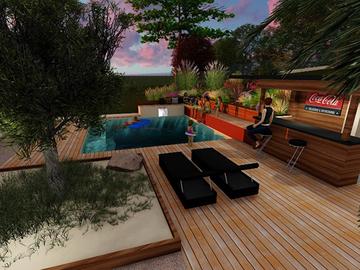Aménagement d'une piscine avec pool house à Bruguières