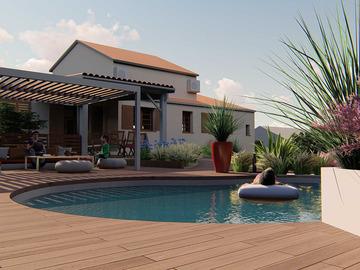 Rendu réaliste d'un jardin avec piscine et terrasse près de Toulouse